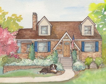 Custom Painting from Photo, Watercolor House Portrait, commissioned home painting Whimsical drawing of building, hand sketched artwork