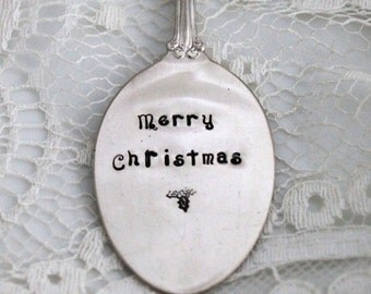 Merry Christmas VINTAGE SPOON ORNAMENT Key Chain Christmas Ornament Silverware Ornament Ready To Ship Keepsake Gift Made In Usa - M T O