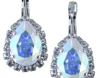 Crystal Earrings AB Aurora Borealis Pear Shaped Earrings Swarovski Crystal Wedding Earrings Multicolor Dangle Also Avail As Clip On Earrings