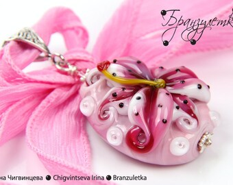 Pendant Pink Lily - Lampwork flower glass artisan bead - chain