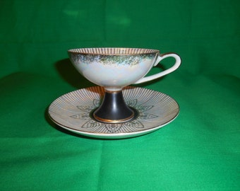 One (1), Porcelain, Footed Teacup and Saucer, from Royal Halsey, in a Geometric Pattern, with Gilding and Iridescence.