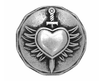 3 Braveheart 7/8 inch ( 22 mm ) Winged Heart Dagger Metal Buttons Antique Silver Color