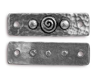 6 TierraCast Spiral and Rivets 1.5 inch (39 mm) Antique Silver Pewter Links