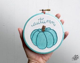 Autumn Decor, Chic Pumpkin Embroidery Hoop Art, Aqua, Pretty Painted Pumpkin, Fall Decor, Contemporary, Metallic, Shimmery, Glam, Halloween