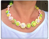 Pastel, polka dot, button necklace