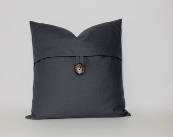 Button pillow cover ~ charcoal grey, coconut button accent throw pillow, home decor accent