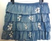 Hand Bleached Denim Upcycled Jean Skirt