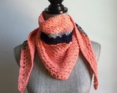 Crochet Cotton Handkerchief Scarf in Coral, Navy Blue and Gray