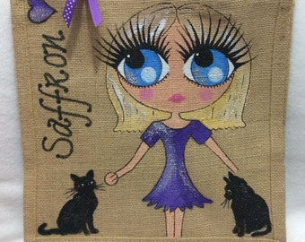 Handpainted Personalised Jute Gift Party Celebrity Style Bridesmaid Bag with Two Cats