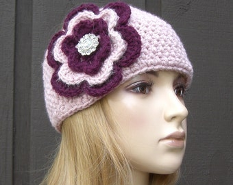 Flower Head Wrap Headband Earwarmer Winter Knit Pink with Sparkle Button