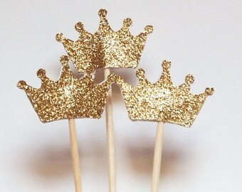 24 Gold Crown Cupcake Toppers,Wedding Picks,Party Picks,Food Picks
