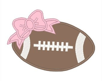 Bow Football Applique Embroidery Design - Instant Download