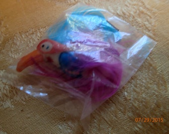 Vintage 1970's Acrylic Toucan Sam Brooch/Purple & Blue Feathers/PJsBeadedEagle