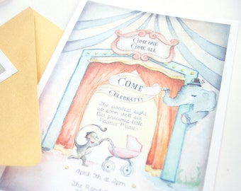 Circus Baby Shower or Birthday Invitation Whimsical Watercolor