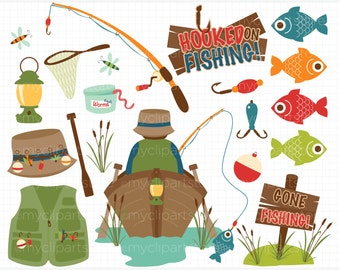 Fishing Clipart - father's day, fishing tackle, camping, boat, fishing rod, fisherman, vector graphics, digital clip art, commercial use