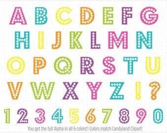Alpha - Rainbow Dot Alphabet Clipart - Party Lights ABC / Retro Dotted Letters - Vector Clip Art / Digital Clipart - Instant Download