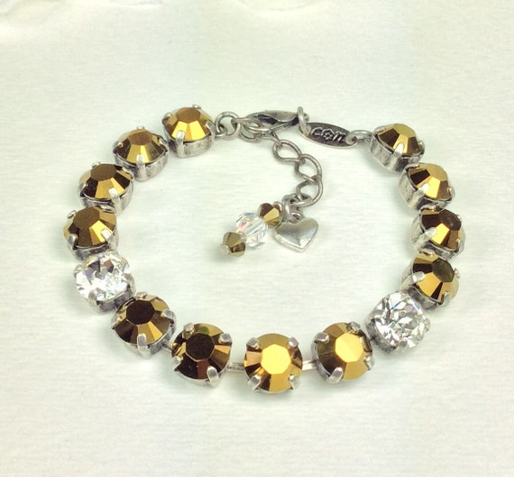 Swarovski Crystal 8.5mm Bracelet   Radiant Gold Metallic Crystal Dorado With Clear Crystal Accents - Designer Inspired  - FREE SHIPPING