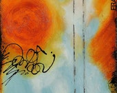 Original Abstract Acrylic Painting on Canvas in Blue, Orange, and Cream by Sarah Ettinger