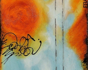 SALE Original Abstract Acrylic Painting on Canvas in Blue, Orange, and Cream by Sarah Ettinger, 24 X 30