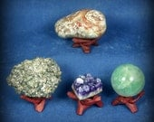 Wooden tripod cobra stand for rock, shell, mineral, geode, sphere, globe, ball or other display