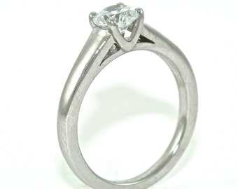 14kt White Gold and Diamond Solitaire Engagement Ring with .54ct Moissanite
