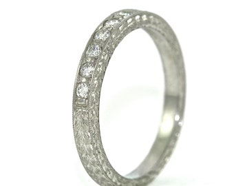 Platinum and Diamond Art Deco Design Hand Engraved Wedding Band