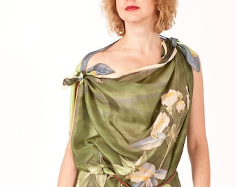 Olive green silk scarf hand painted Botanical women gift - ready to ship