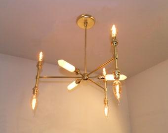 9-Bulb Satin Brass Pendant