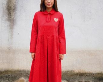 Vintage Dress, 1980s Dress, Vintage Japanese Dress, Vintage Womens Dress, Red Dress, 80s Dress, Large Dress