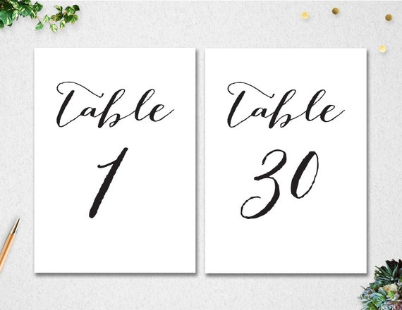 Printable Table Numbers 1-30 // INSTANT DOWNLOAD // 5x7