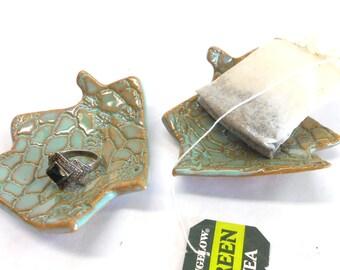 House Ring Dish Tea Bag Holder Teabag Rest Teaspoon Rest Ceramic Ring Dish Pottery Ring Dish House Teabag Holder in Turquoise