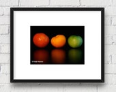 Food Art, Colorful Red, Yellow, & Green Tomatoes; Kitchen Art: 5x7 Matted Photo