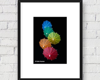 Colorful Cocktail Umbrellas: 5x7 Matted Photo