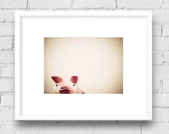 Adorable Little Piggy - 5x7 Matted Photo, Nursery/Kid's Room