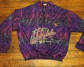 Neon purple fireworks confetti 90s pullover rain jacket surf style fort lauderdale