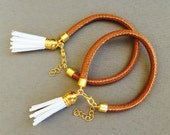 SET OF 2 Nautical Bracelet - Leather Tassels - Chunky Rope Bracelet