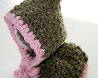 Baby Girl Hoodie ~ Hand Crocheted Brown and Pink ~ 12 - 18 month Size ~ Pom Pom Hoodie with Shoulder Warmer ~ Baby Winter Clothing
