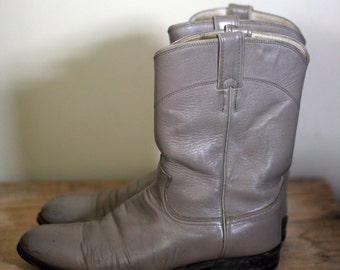 vintage justin roper boots taupe leather mens size 9.5D