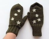 Mittens, hand knit, warm wool gloves, winter accessories, mittens with white flowers for women, men, girl.