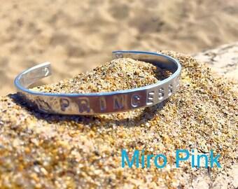Handstamped Silver Metal customised Bangle Bracelet