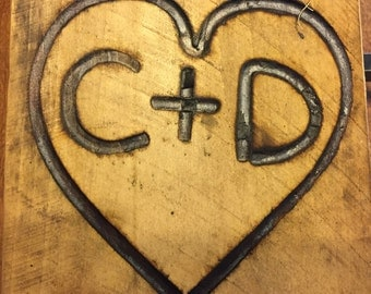 Full Size Branding Iron, Custom Wedding Heart and Initials Brand