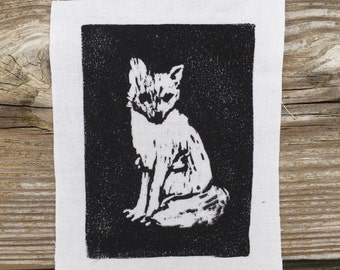 Fox Drawing // Back Patch // Punk Patch // Relief Print // Linocut