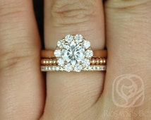 Blossom 6.5mm, Buddha Bds, & Pernella 14kt Rose Gold Round FB Moissanite and Diamonds Flower TRIO Wedding Set(Other metals/stone available)