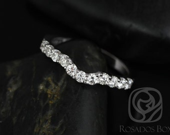 14kt White Gold Matching Band to Trisha 6.5mm Diamonds HALFWAY Band (Other metals available)