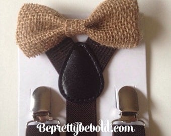 Burlap Bow tie Suspender set Burlap Baby bowtie Suspenders Jute Boys Bowties Tan Toddler Necktie Dark Brown Mens Wedding Ring Bearer Outfit