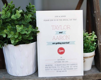 Modern Simple Wedding Invitations Mint Green Blue Watermelon Red Black Stationery chic glam rustic