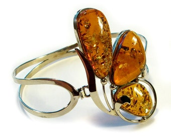 Natural Baltic cognac amber bracelet.