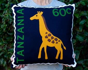 Tanzanian giraffe stamp cushion cover