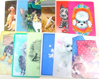 Dog Card Collection - Vintage Playing Cards - Dog Playing Cards - Trading Cards - Collage Pack - Singles