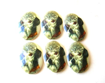Vintage Dog Cabochons 13X18mm - 13 X 18 Cabs - Poodle Cabochons - Jewelry Supplies - Craft Supplies